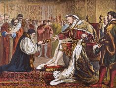 Hugh Latimer presenting the Bible to King Henry VIII, from 'Old England's Worthies' by Lord Brougham and others, published London, c.1880s (colour litho), English School, (19th century) / Private Collection / Ken Welsh / Bridgeman Images