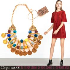 Con nuestro #Collar de #Monedas no pasarás desapercibida. Vistoso, alegre y a la última moda. Ideal con un vestido de antelina, como el de la foto, que es de #zara. Precio collar: 19,95 € en http://www.conjuntados.com/es/collares/collar-dorado-de-monedas-y-pompones-de-colores.html #necklace #fashion #accesorios #complementos #bisuteria #jewelry #bijoux #shopping #novedades #outfit #trendy #tendencias #tendances #moda #mode #estilo #style #étnico #boho