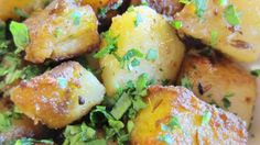 Indian Potatoes: can replace ghee with peanut or vegetable oil, lemon juice for the mango powder.