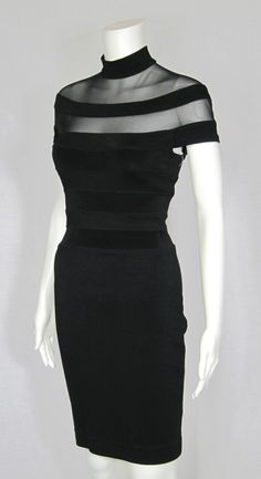 Vintage 1980s Lillie Rubin Black Stretch Body Con Wiggle Dress For Sale | Antiques.com | Classifieds