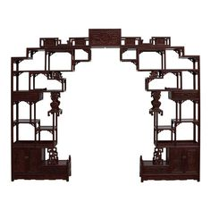 This is a display cabinet with different height and shape on each section for collection display. It can be placed against the wall or as a room di. China Cabinet Display, Antique Chinese Furniture, Wood Joints, Unique Furniture, Asian Furniture, Console Furniture, Oriental Furniture, Painted Cottage, Fireplace Mantle