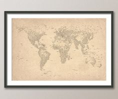 city text world map.  also love many of the other maps at this etsy store