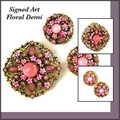 Pink Floral Demi Signed ART, Brooch and Earrings, #jewelry @EtsyMktgTool http://etsy.me/2mX6jI1