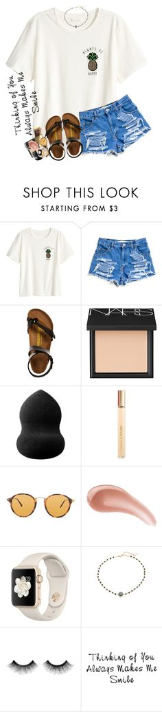 """thinking of u makes me smile"" by sophie-dye ❤ liked on Polyvore featuring H&M, Birkenstock, NARS Cosmetics, blacklUp, Prada, Ray-Ban, Bare Escentuals, Ela Rae and Urban Decay"