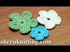 Crochet* small 5 petal flower.  Get the more patterns at http://sheruknitting.com/ In this tutorial 26, part 2 you will be able to make same 5-petal flowers but with smaller petals. The siz...