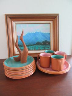 Vintage Crown Corning Set of 12 PERFECT Condition Sonora Pink and Aqua Blue Terra Cotta Rim & Rare Vintage Heath Ceramics USA Pie Plate or Vegetable Bowl Unusual ...