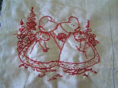 Sunbonnet Sue redwork no2 by Poppins Mosaics and Crafts, via Flickr