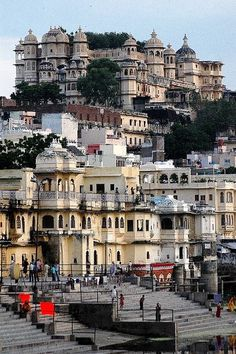 The city palace (top) in Udaipur, Rajasthan, India