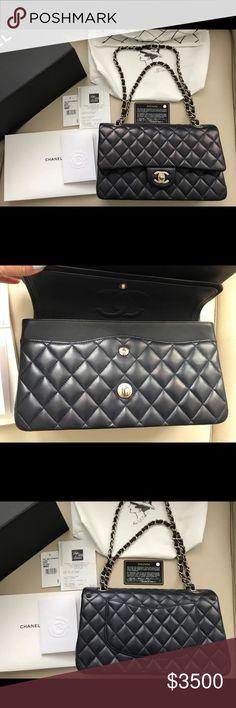 Chanel Navy Blue M/L Lambskin Classic Flap Bag Brand New 100% Authentic Chanel Navy Blue M/L Lambskin Classic Flap Bag Light Gold Hardware CHANEL Bags Shoulder Bags