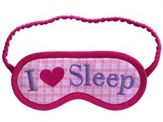 4694b46b9653b I LOVE Sleep Eye Mask with Pink Heart Embroidery. I Love Sleep
