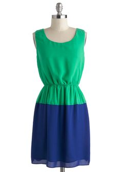 Shore to Sea Dress - Mid-length, Green, Blue, Casual, A-line, Sleeveless, Scoop, Solid, Colorblocking