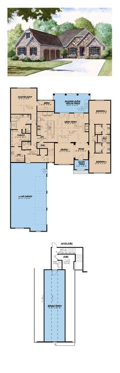 French Country House Plan 2532 sq. ft., 3 bedrooms and 2.5 bathrooms. #frenchcountryhome