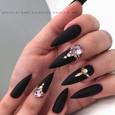 Nail Designs nail designs for fall nail designs for summer gel nail designs Gold Stiletto Nails, Black Acrylic Nails, Matte Black Nails, Best Acrylic Nails, Nail Black, Yellow Nail, Pointed Nails, Red Nail, Black Acrylics
