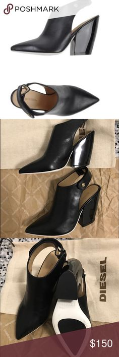 Diesel Angel's Kiss Black Heels Mules NEW Sexy women's leather heels. True size Size: 5 Color: Black/White, the heel height is 3.9 inches. New condition will ship in original package. Diesel Shoes Mules & Clogs