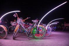 neon bikes burning man, burning man bike decorations, best burning man bikes