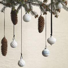 Boule de Noël en porcelaine blanche et motifs (par 4) Hübsch - doré