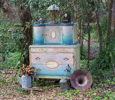 Upcycled Dresser boho vintage painted blue