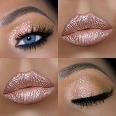 Shimmery summer makeup look