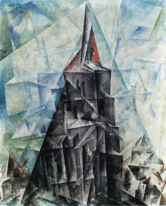 Umpferstedt III by the American artist Lyonel Feininger (1871-1956). Executed during a pivotal time in Feininger's career when he joined the Bauhaus (1919), the painting is one of three works produced in Umpferstedt, in the Weimar region of Germany.