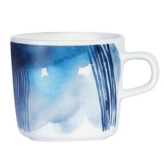 Take a moment to recharge in style with this Oiva coffee cup from Marimekko. Part of the Weather Diary Collection inspired by autumnal weather patterns and hues, this coffee cup features a calming . Marimekko, White Coffee Cups, Boutique Deco, Drum Table, Dinnerware, Tea Cups, Shops, Blue And White, Tableware