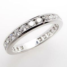 Tiffany & Co. Channel-Set Diamond Wedding Band Ring 3mm Platinum