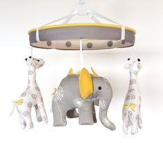 Yellow Grey Elephant Giraffe Baby MobileNursery by MemeFleury, $129.00