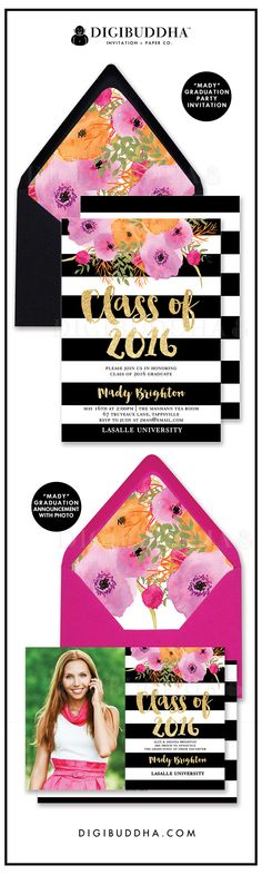 Trend setting black and white stripe Graduation party invitations and graduation announcements with bright, bold watercolor flowers in modern fuchsia hot pink and orange. Gift Boxes For Women, Graduation 2016, Champagne Label, Graduation Party Invitations, Graduation Announcements, Envelope Liners, Grad Parties, Papers Co, Party Planning