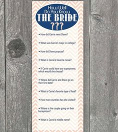 How well do you know the bride?