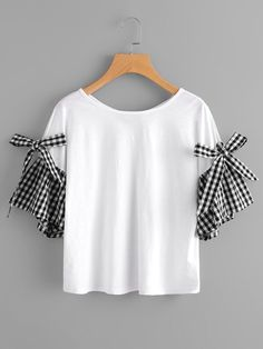 SheIn offers Bow Tie Gingham Bell Sleeve Tee & more to fit your fashionable needs. Cut Shirt Designs, Blouse Designs, Trendy Outfits, Kids Outfits, Fashion Outfits, T-shirt Refashion, Diy Summer Clothes, Baby Dress Patterns, Vetement Fashion