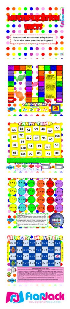 This Smart Board resources contains 4 fun games to practice multiplication facts and vocabulary - Candy Land, Candy Bump, Hungry Monsters, and Beat the Clock. $