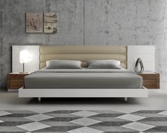Modern Extra Long Headboard Bed with Beige Cushions