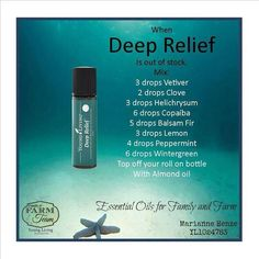 Make your own Deep Relief Roll On...I'd also add a drop or few of Palo Santo! I just bought all the oils to make this, so excited!