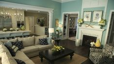 turquoise with linen and black...this is so me! Love it! Maybe next house!