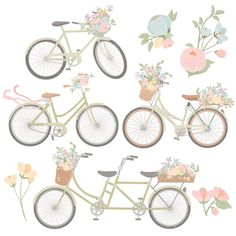 Big, beautiful blooms are accented by smaller, delicate flowers and foliage in this pretty collection. Includes 12 floral bicycles plus 9 coordinating flower accents. Bicycles and flowers coordinate perfectly with my other Emma florals. They are in my pastel Grandmas Garden color scheme. A stunning addition to custom wedding invitations and home decor.  All floral bicycles and flowers have a transparent background, making them easy to just pop in where you need them!   Ive included the .ai…