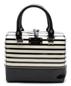 Look at this Kate Spade Black & White Stripe Alessa Patent Leather Shoulder Bag on #zulily today!