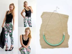 Cotton Wrapped Rope Necklace  Mint Thread  Silver Chain