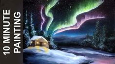 Today we paint Northern Lights and a small winter cabin in fewer than 10 minutes! This is a real time acrylic landscape painting tutorial of a winter night s...