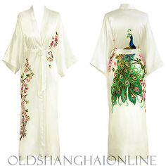 100% SILK KIMONO ROBE Floral Handpainted Night Gown Bathrobe Long (HPKML)