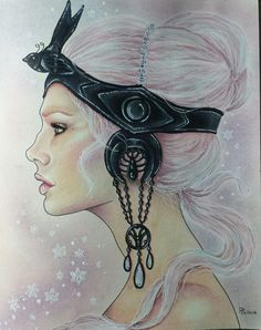 Love the highlights and shadows which contour the face. Headpiece overpowers face and hair color fades into background .