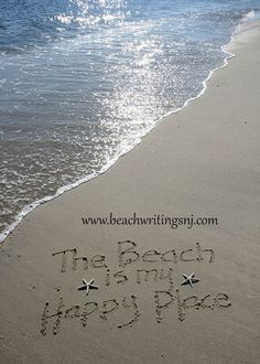 The Beach is my Happy Place Sand Beach Writing by BeachwritingsNJ