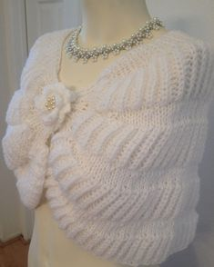 Items similar to Hand Knit Wedding Shawl / Bride Bolero on Etsy Items similar to Hand Knit Wedding Shawl / Bride Bolero on Etsy Always wanted to discover ways to knit, nevertheless unc. Knitted Capelet, Gilet Crochet, Crochet Cardigan Pattern, Crochet Shawl, Crochet Lace, Wedding Shawl, Crochet Clothes, Hand Knitting, Etsy