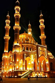 Heydar Mosque - Baku, Azerbaigian Mosque Architecture, Religious Architecture, Ancient Architecture, Beautiful Architecture, Beautiful Buildings, Art And Architecture, Beautiful Mosques, Beautiful Places, Beautiful Pictures