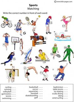 Sports Matching worksheets http://www.kids-pages.com/folders/worksheets/Sports/Sports.pdf: