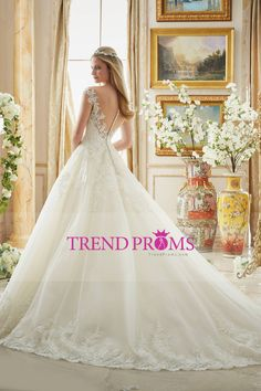 2016 Cap Sleeve Wedding Dresses A Line Tulle With Applique