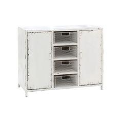 New York Loft Cabinet, 2 Door/4 Basket, White Distressed Finish
