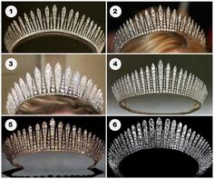 Six Diamond Fringe Tiara's   (1-Princess Mary's Fringe (British)  (2-Princess marie-Chantal's Fringe (Greek)  (3-Habsburg Fringe- (Liechtenstein)  (4- Queen Mary's Fringe-(British)  (5- Kent City of London Fringe, (British)  (6-Fringe formerly belonging to Queen Maria of Yugoslavia