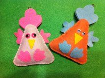Felt Easter chicken ornaments