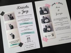 Diseños originales para invitaciones de boda estilo fotomatón con foto.