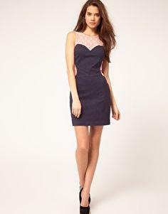 Enlarge ASOS Denim Dress With Lace