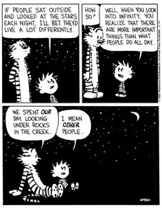 "lonequixote: "" When You Look Into Infinity… Bill Watterson Best Calvin And Hobbes, Calvin And Hobbes Quotes, Calvin And Hobbes Comics, Star Comics, Comics Story, Fun Comics, Cartoon Network Adventure Time, Adventure Time Anime, Calvin And Hobbes Wallpaper"